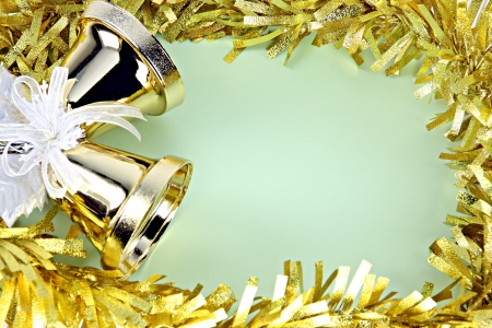 Crispy golden bells and decorations yellow ribbon can use it in Christmas and New Year  photo
