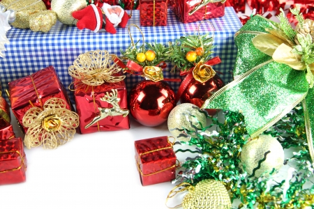 Red ball and gift box of decorations in Christmas or New Year. photo