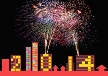 urban life: Fuegos artificiales coloridos y a�o nuevo banners 2014, el concepto de la vida urbana.