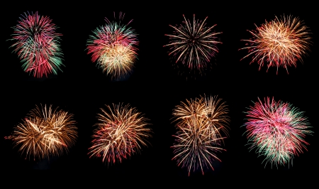 Variety of colors Mix Fireworks or firecracker in the darkness  photo