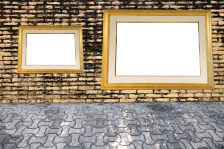 affixed: Old brick wall and photo frame affixed  Stock Photo