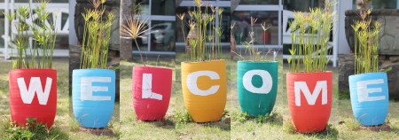 welcome sign: Design Welcome sign made from colorful jardiniere.