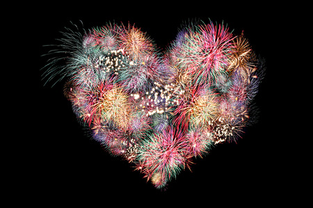 Mix Fireworks or firecracker of heart in the darkness  photo