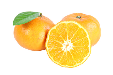 Fresh mandarin Orange with sliced isolated on white background. photo