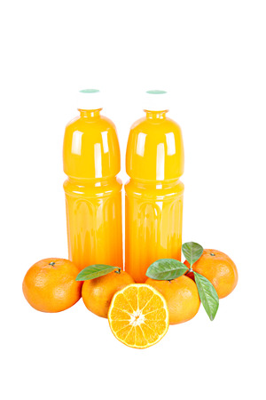Fresh mandarin Orange and Bottle of juice with sliced isolated on white background. photo
