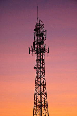 Antenna evening silhouette in evening. photo