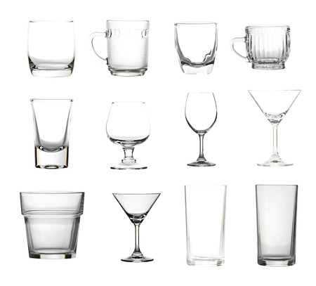 Glassware collection isolated of picture big size on white background. photo