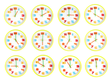 Big size Colorful clock of twelve style in telling time on white background. photo