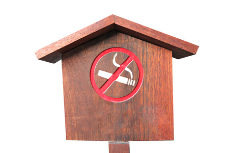No smoking of wooden sign on white background.