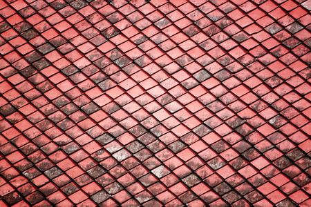red old tiles roof in the temple for background.