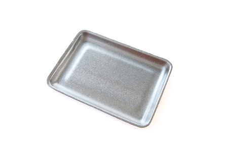 Black empty food tray or foam food container isolated on white background. photo