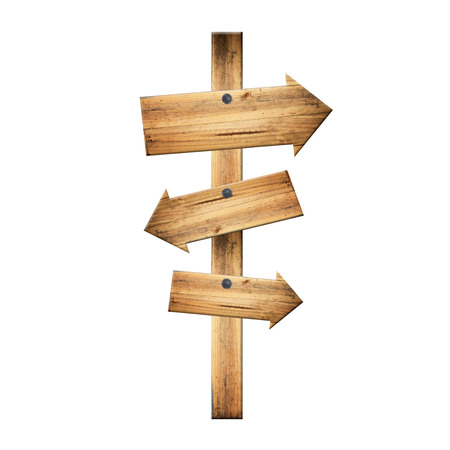 Wooden signpost of dark planks isolated on white background. photo
