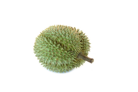 durian of tropical fruit in Thailand on the white background.