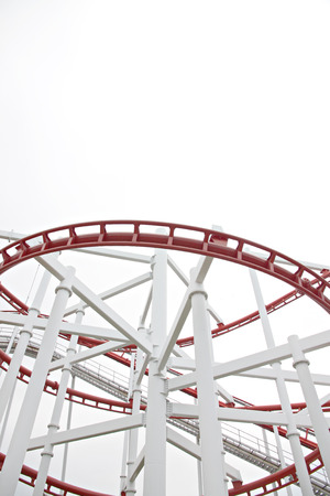 Roller of coaster on white background in the amusement park.