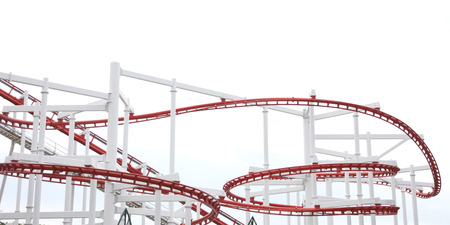 Roller of coaster on white background in the amusement park. photo