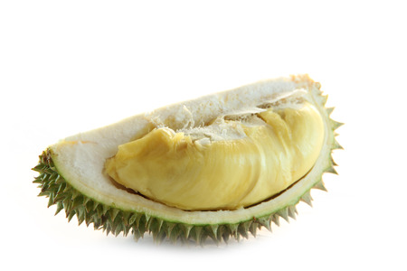 peeled durian isolated on white background. Stock Photo