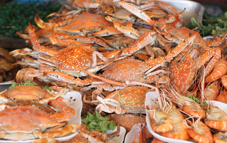 blue swimmer crab: Baked blue swimmer crab in a restaurant for foods background. Stock Photo