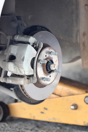 brake disc: repaired equipment of car brake disc in the garage.