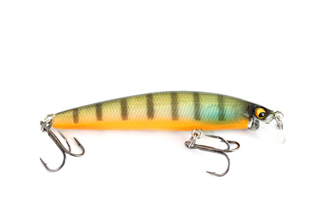 Fishing lure of colorful on white background. photo