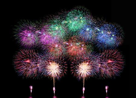 fireworks or firecracker on black background.