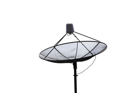 black satellite dish on white background. photo