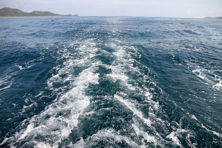 astern: Astern sea wave of boat running.