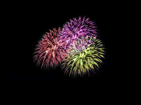 colorful fireworks on black .