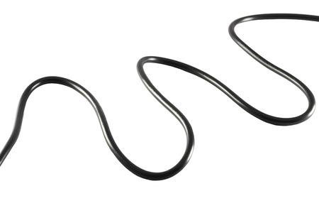 Black power cable socket isolated on white background. photo