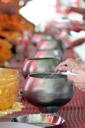 religion ritual: Giving for monks in ritual religion Thailand.