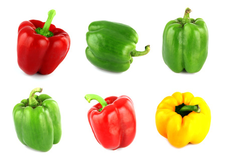 pimento: Bell peppers on white Background.