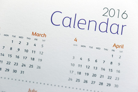 business letters: The picture Text on calendar show in 2016 year. Stock Photo