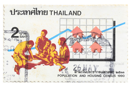 census: BANGKOK THAILAND - A old stamp printed in Thailand shows image of Thailand population and housing census ,A stamp printed by Thailand Post circa 1990.