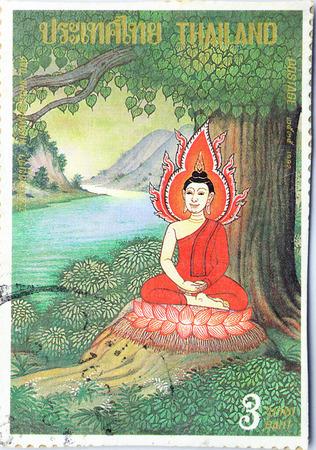 lord buddha: BANGKOK THAILAND - A old stamp printed in Thailand shows image of Lord Buddha in Buddhism,A stamp printed by Thailand Post circa 1992.