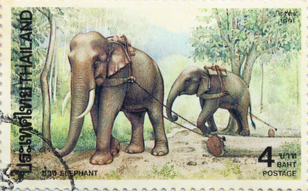 worked: BANGKOK - A old stamp printed by Thailand Post circa 1992 and shows image of elephants worked,THAILAND.
