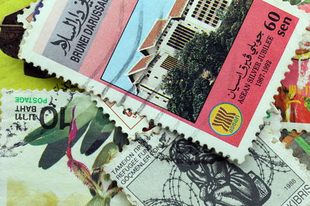 circa: BANGKOK - Pile A old stamp printed by Thailand Post circa 1990 and shows image of Arts and Culture,THAILAND