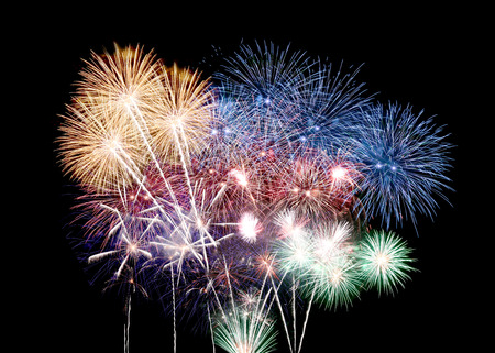 Variety of colors Mix Fireworks or firecracker in the darkness. Stock Photo