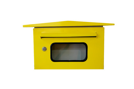 letterbox: Yellow letterbox on white background. Stock Photo