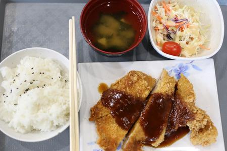 teriyaki: Teriyaki chicken rice in the restaurant.
