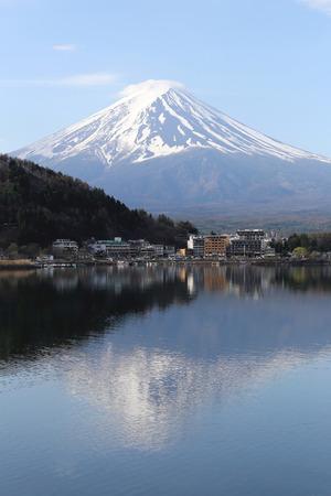 stillness: Mount Fuji in kawaguchiko lake side on fine weather. Stock Photo