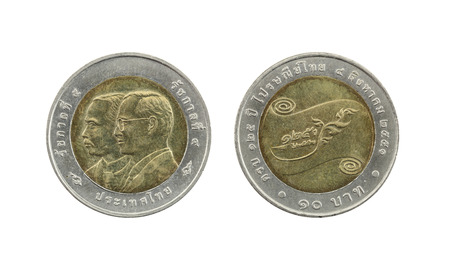 numismatic: Ten Baht Thailand coins limited edition isolated on white background.