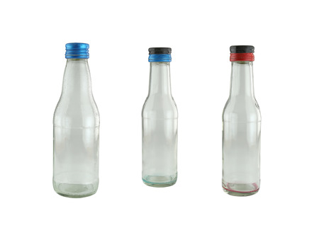tare: glass Bottles isolated on white background
