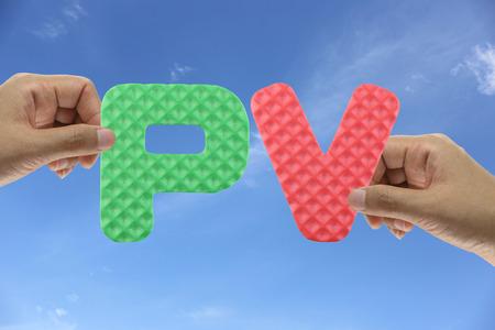 pv: Hand arrange alphabet PV of acronym point value in system organizations management.