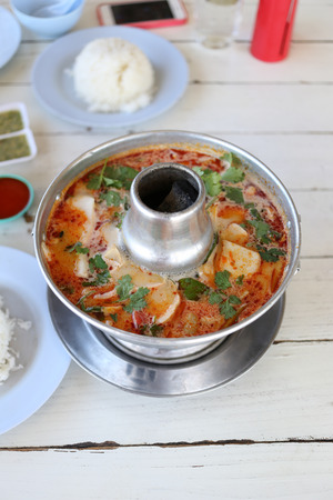 goong: This is Thai food of shrimp soup in hot and spicy in restaurant,Tom Yum Goong.