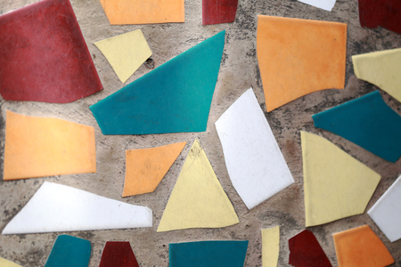 motifs: Motifs of tile on flooring cement for design background.