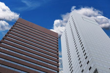 good weather: skyscrapers in a good weather and blue sky background. Stock Photo
