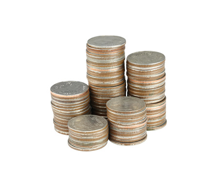 silver coins: silver Thailand coins stack isolated on white background  Stock Photo