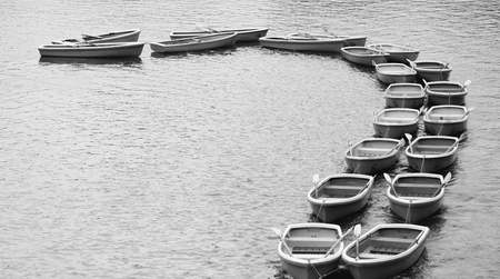towed: Rowboat in the pond at chidorigafuchi park on black and write style,Tokyo,Japan.