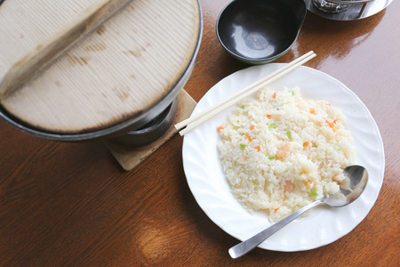 fried foods: Japanese fried rice on foods table in the Japan restaurant. Stock Photo