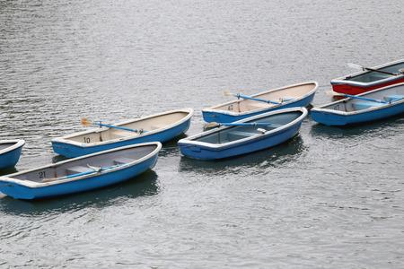 towed: Many boat in the river at Chidorigafuchi Park.