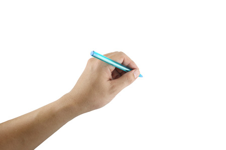 blue pen: Blue pen in hand on white background and have clipping paths.